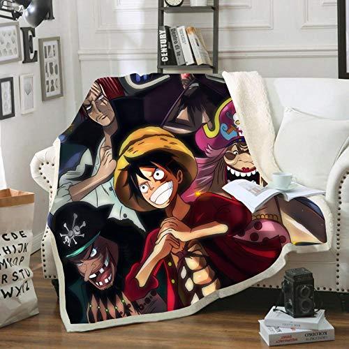 POMJK Manta de paja Ruffy, de One Piece Ruffy, con estampado 3D, de franela, para sofá, cama o viaje (27,150 x 200 cm)