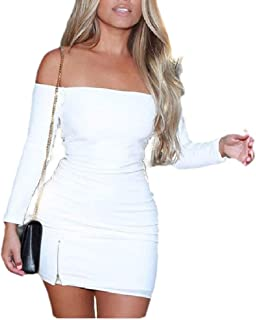 Womens Fashion Solid Colored Off Shoulder Side Split Bodycon Dress