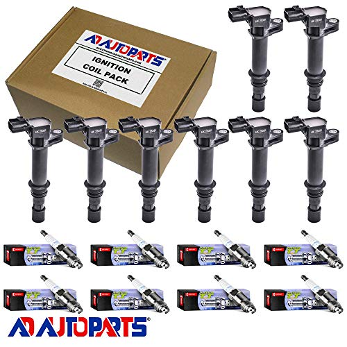 AD Auto Parts Ignition Coil Pack - 8 Herko B043 Ignition Coils + 8 4503 Platinum TT Spark Plugs For 1999-2004 Dodge & Jeep