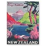 pagsundog Neuseeland Vintage Reise Poster druckt Südinsel