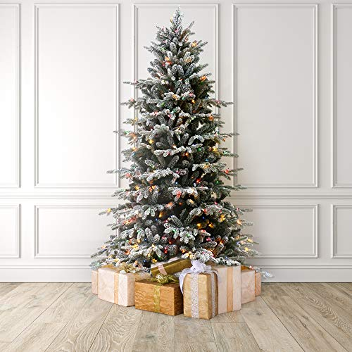 MARTHA STEWART Flocked Natural Pine Pre-Lit Artificial Christmas Tree, 9 Feet, Multicolored Lights