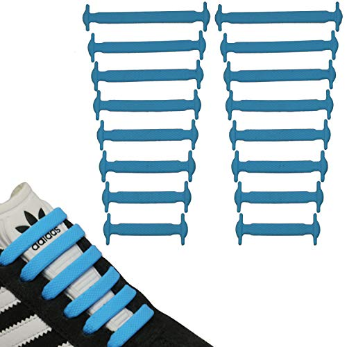 JANIRO Elastische Silikon Schnürsenkel flach | flexible schleifenlose Schuhbänder ohne Binden | Kinder & Erwachsene - Blau