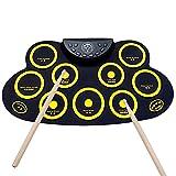 JTYX Tragbares elektronisches Drum Set Digitales Roll Up MIDI Drum Kit 9 Silicon Durm Pads mit 2...