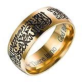 yibenwanligod Classic Edelstahl Muslim Islam Arabisch Muhammad Ring Männer Totem Ring-Goldene US 7