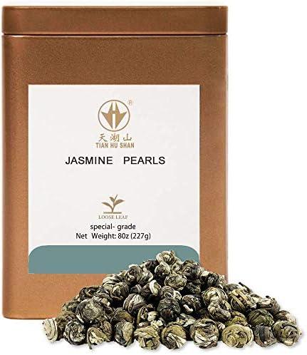 TIAN HU SHAN Special Grade Jasmine Dragon Pearls Green Tea Loose Leaf 8oz 227g Tin product image