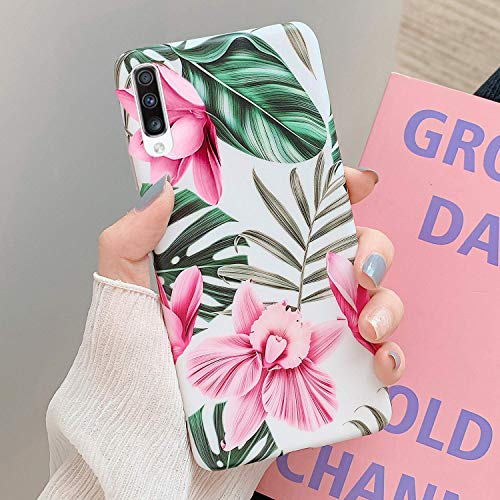 Herbests Kompatibel mit Samsung Galaxy A70 Handyhülle Blumen Blätter Motiv Muster Ultra Dünn TPU Schutzhülle Silikon Handyhülle Stoßfest Antikratz Case Cover Silikon Bumper,Rosa Blumen