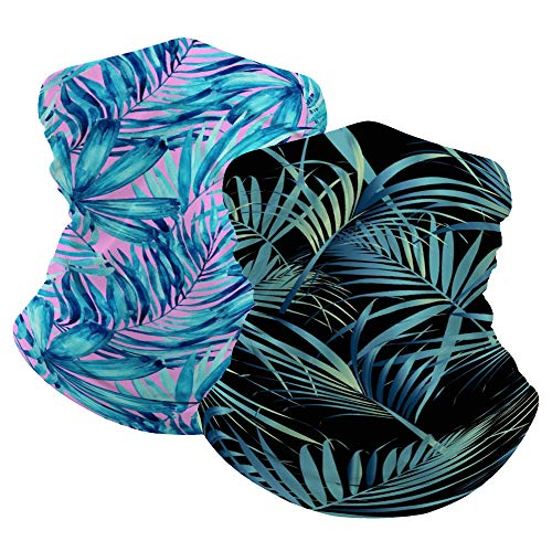 QoGoer 2 Pack Tropical Palm Leaves Seamless Bandanas Headband Multifunctional Balaclava Scarf Headwear Neck Gaiter for Dust Protection, Outdoors, Sports
