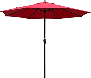 Sundale Outdoor 10FT Market Umbrella Table Umbrella with Crank and Auto Tilt, Aluminum Ribs, Polyester Canopy Shade for Patio, Garden, Deck, Backyard, Pool, Red