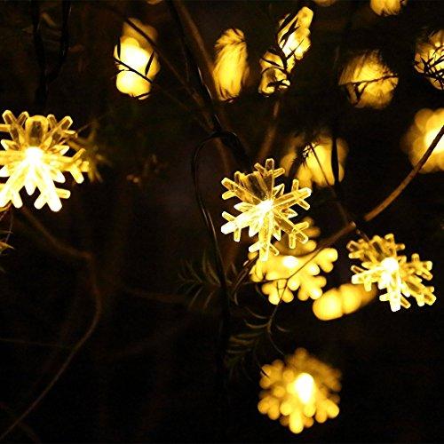 5.5 Meters Guirlande Lumineuse arbre de Noël LED à Piles avec 50 Flocon de neige avec télécommande Pour Nouvel An Noël Jardin Mariage Terrasse Pelouse