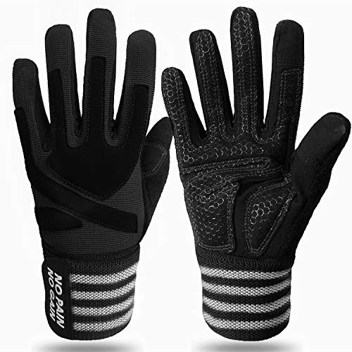 Weight Lifting Gloves Full Finger with Wrist Support for Bodybuilding Work Out, Gel Padded Fitness Exercise Glove Strap Full Palm Protection Anti Slip Comfortable Breathable fit Gym Crossfit (Black,S)