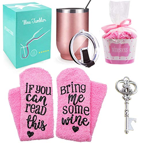 Wine Gift Set + Cupcake Wine Socks, 16oz Stainless Steel Double Insulated Wine Tumbler with Lid and Straw Unbreakable Wine Glasses,Funny Gift for Women, Mom, Grandma, Wife, Aunt, Daughter (Rose Gold)