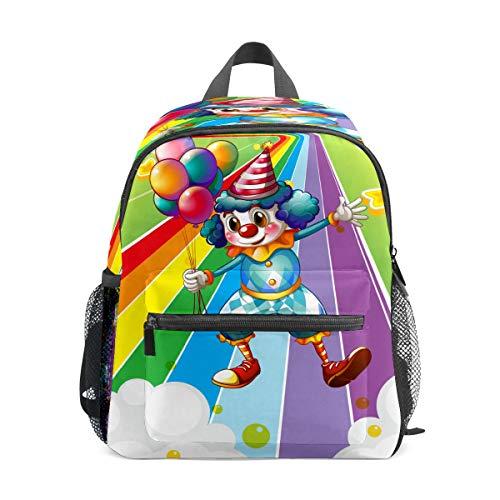 Preshool Rucksack Lustiger Clown mit Luftballons im bunten Regenbogen Street Kleinkind Mini Schultasche Kinder Daypacks für Jungen Mädchen
