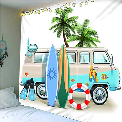 Sala De Estar Dormitorio Tapiz Decoración Tapiz pared decoracion 100x150 cm Bus y tabla de surf QWEFGDF
