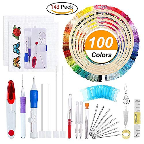 Aguja de punzón mágica para bordado, 50 hilos de colores, herramienta de manualidades...