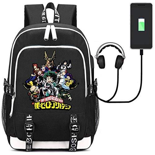 My Hero Academia Anime Boku no Hero Academia Cosplay Backpack Daypack Bookbag Laptop School Bag with USB Charging Port