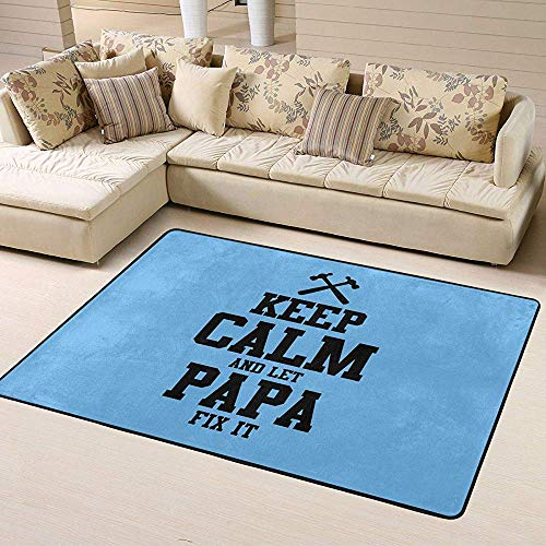 beibao Keep Calm and Let Papa Fix It Area Rug Pad Solid Home Decorator Floor Mat Non-Slip Carpet