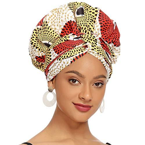 Satin Bonnet for Black Women Satin Lined Headwrap, Silk Bonnet for Curly Hair Bonnet for Sleeping Ankara African Print Head Scarf Head Wrap (Gold)