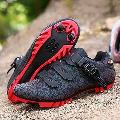 CHD Blocca Le Scarpe da Ciclismo su Luminose per Uomo e Donna con Suola Rigida Mountain Bike Sneaker in Nylon Fibbia Velcro,Rosso,45