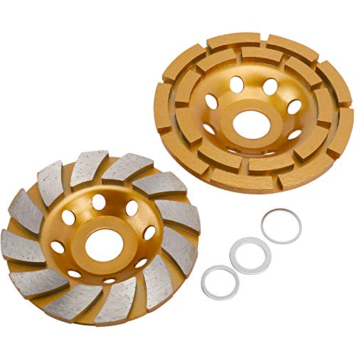 Toolly 2 Pack Diamond Cup Grinding Wheel, Including 4-1/2 Inch Double Row Grinding Wheel, 4 Inch 12-Segment Turbo Row Grinding Wheel Angle Grinder Disc for Grinder Polishing and Cleaning Stone