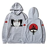 Itachi Sudadera con capucha Anime Naruto Sudaderas Hombres Mujeres Itachi Streetwear Pullover Harajuku Sudadera con capucha Tops, gris, XXL