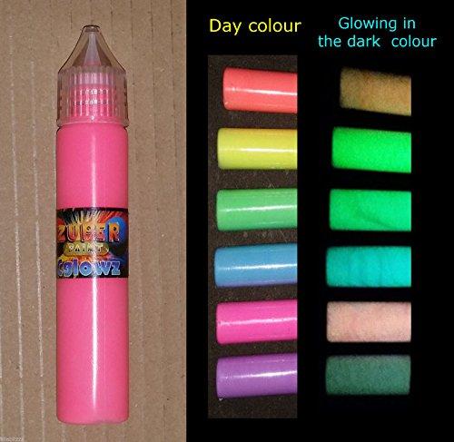 Cglowz Day Neon UV Reactive fluoreszierende Farbe leuchtet im Dunkeln – 30 ml Lackstift blau