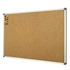Cork Bulletin Board (EXACT SIZE 35.8 x 23.8 Inch) – Conveniently Nailed Up Notes Or Photos COMFORTABLE HOLDING MEMORY & GOOD LOOKING: Anti-Scratch Satin SILVER Aluminum Frame, Round Nylon Corners, Safe and Funny for Playroom and School and Office EAS...
