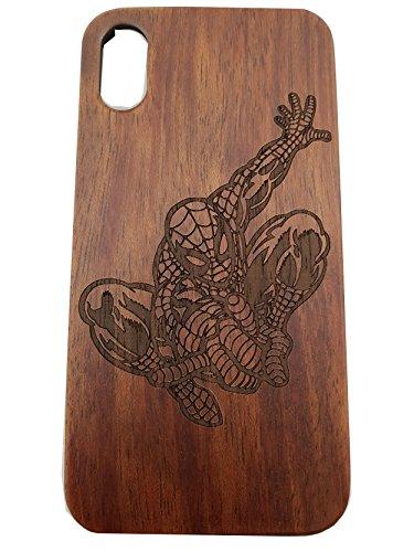 Gamma Shark Spiderman Unique Laser sculpté en bois naturel soutenu téléphone Coque pour Apple iPhone 5/5S/SE/6/6S/6+/6S +/7/7+/8/8+/X, iPhone X, iPhone 6 / 6S / 7 / 8