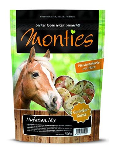 Monties Pferdeleckerlis, Hufeisen-Mix, Gebacken, Größe ca. 4,5 cm Durchmesser, Genießer-Kekse, 500 g