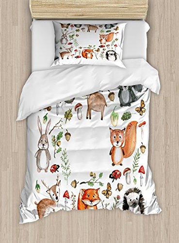 Printawe Parure de lit décorative avec Housse de Couette Motif Chouette, Renne, bière, hérisson, Coccinelle, Lapin, Papillon, Noyer, Tissu, Multicolore 1, Twin/Twin XL