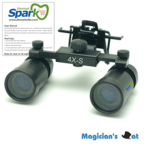 Spark 拡大鏡 4.0倍に拡大でき 専門 歯科用 精密280-380mm調整でき ヘッドルーペ メガネルーペ 折りたたみができ 製作 機械 作業 生物研究 開発 手術 歯科 医用 医者 眼科 外科にも使える 拡大鏡 虫眼鏡 双眼ルーペ 時計見ルーペ