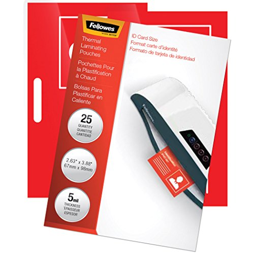 """Fellowes Laminating Pouches, Thermal, 3 7/8""""(H) x 2 5/8""""(W) Size, 5 Mil, 25 Pack (52007)"""