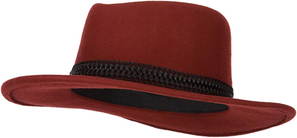Jeanne Simmons Women's Designed Band Accented Pinched Top Large Brim Wool Fedora Hat