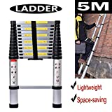 5M/16.4ft Aluminium Extension Telescopic Ladder Multi-Purpose Foldable Ladders Portable Space-Saving EN 131 Certificate Max Load 150kg/330lb