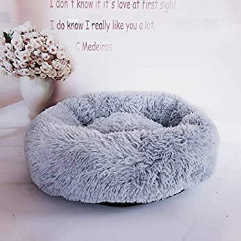 Loopunk Rond en Peluche pour Animal Domestique Nest Deep Sleep Pet Matelas épais Chaud Chien Lit Litière pour Chat Convient pour Chiots Chaton Petits Animaux(White 60CM)