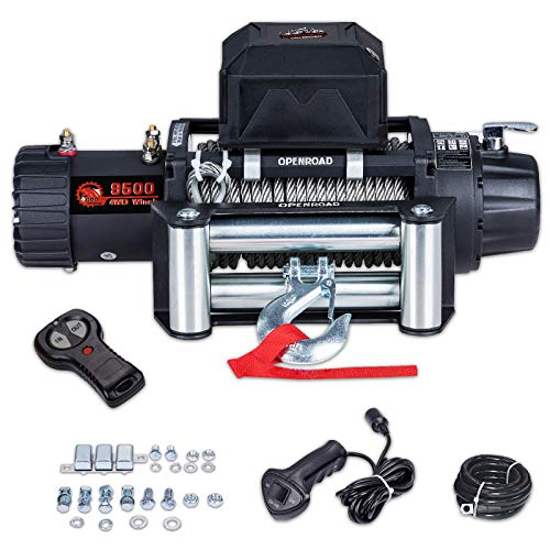 OPENROAD 9500 lb Electric Winch,12V Winch with 26m Steel Cable,Recovery Towing Winch for Jeep,Truck,SUV and Trailer,Winch Come with Fairlead,Overload Protector and Wireless Remote Control