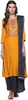 Haute Curry by Shoppers Stop Womens Round Neck Embroidered Palazzo Suit