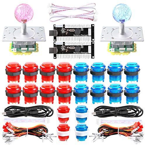 Dashtop LED Arcade DIY Parts 2X Zero Delay USB Encoder + 2X 2/4/8 Way LED Joystick + 20x LED Illuminated Push Buttons for Mame Windows System & Raspberry Pi Projece Arcade Project Red + Blue Kits