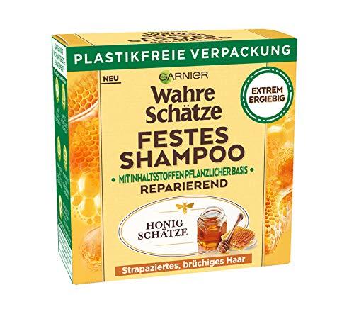Garnier Wahre Schätze, Festes Shampoo Honig Schätze, mit Bienenwachs, repariert strapaziertes, brüchiges Haar, biologische abbaubare Formel, vegan, 1 Stück