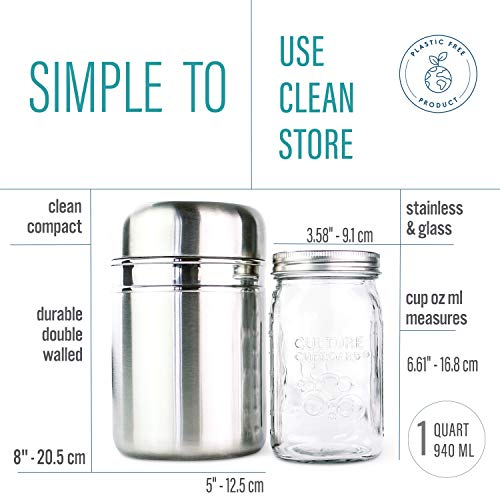 Stainless Steel Yogurt Maker with 1 Litre Glass Jar and Complete Recipe Book to Make 12+ Easy Homemade Dairy Free and Milk Yogurts