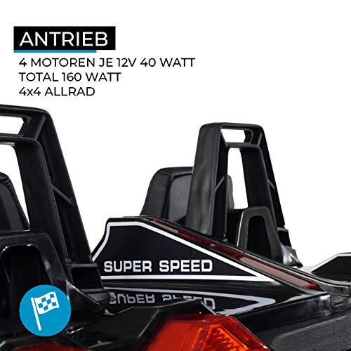 RC Auto kaufen Kinderauto Bild 2: Actionbikes Motors Kinder Elektroauto GT Super Speed JC888 – 4x40 Watt Motor – 2-Sitzer - Eva Reifen – Allrad – Kinderauto (Schwarz)*