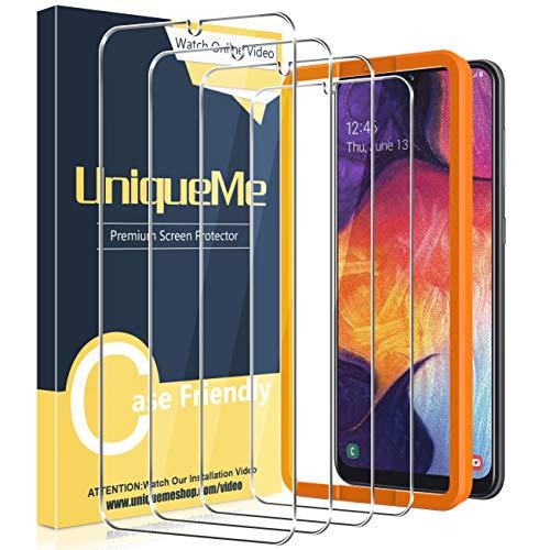 [4 Pack] UniqueMe Compatible con Samsung Galaxy A50 / Galaxy M31 Protector de Pantalla, Vidrio Templado [9H Dureza] HD Film [Sin Burbujas] [Marco de Alineación] Cristal Templado.