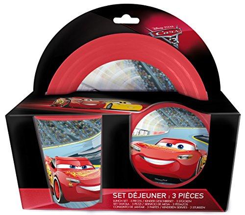 3 tgl Geschirrset- Disney / Pixar: Cars- Teller + Müslischale+ Trinkbecher aus bruchsicherem Kunststoff
