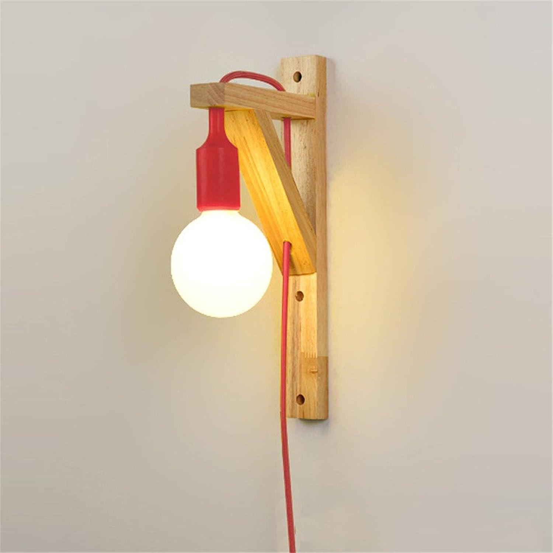StiefelU LED Wandleuchte nach oben und unten Wandleuchten Massivholz Wandleuchte LED Schlafzimmer Doppelbett Wohnzimmer Flur wand Lampen mit Stecker Schalter, 350  180 mm, rot