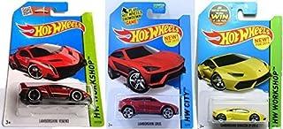 Hot Wheels 2015 Lamborghini 3-Car Set: Red Veneno, Yellow Huracan LP 610-4, and Red Urus by Mattel