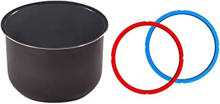 Instant Pot Ceramic Non Stick Interior Coated Inner Cooking Pot 8 Quart & Sealing Ring 2 Pack 8 Quart Red/Blue