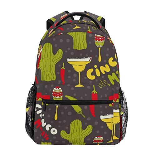 Cinco De Mayo Rucksack mit Kaktus-Mütze, Chili-Muster, große Kapazität, Canvas, lässiger Reise-Tagesrucksack, für Kinder, Erwachsene, Teenager, Damen, Herren