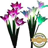Solar Garden Lights Outdoor Deko, mmtx 2Stück Solar-Leuchte Gartenstecker mit 8wechselnden Lily Blume mehrfarbig LED Solar Erdspieß Lichter für Garten, Terrasse, Backyard (lila und weiß)