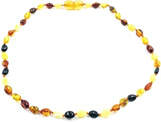 Amber Jewelry Shop Baltic Amber Necklace (Unisex) 13 inches/Certified Genuine Baltic Amber Necklace (Brown, Yellow, Red)
