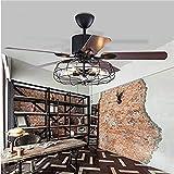 Moerun Ventilador de techo con luces, vintage, de 130 cm, tipo araña, industrial, se controla con...