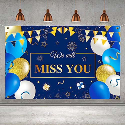 OMIRAE We Will Miss You Banner Backdrop Sign - Farewell Going Away Party Decorations Supplies for Coworker Friend Men - 6 x 4ft Blue Gold